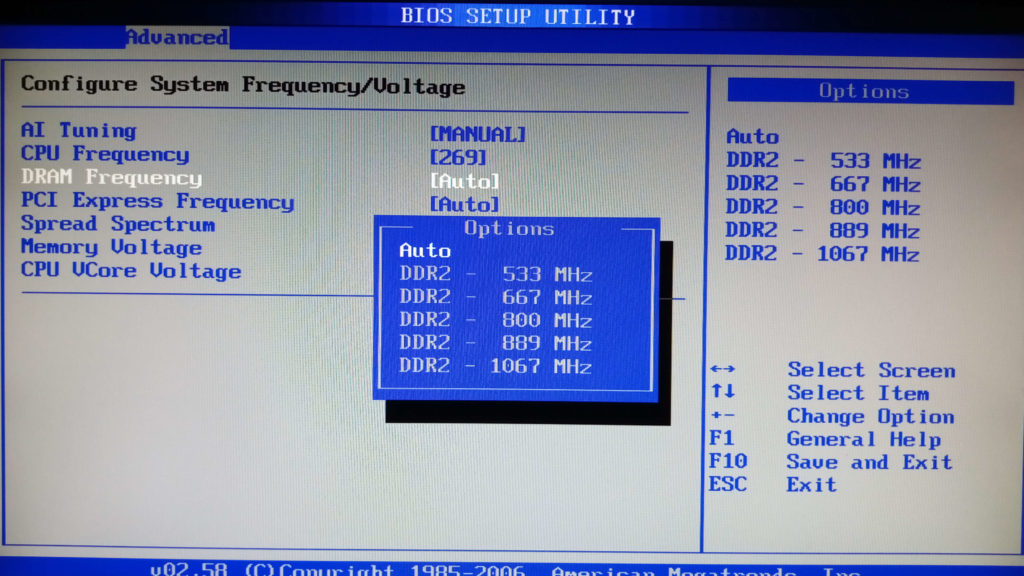 DRAM Frequency в разделе JumperFree Configuration в BIOS материнской платы ASUS P5B-VM