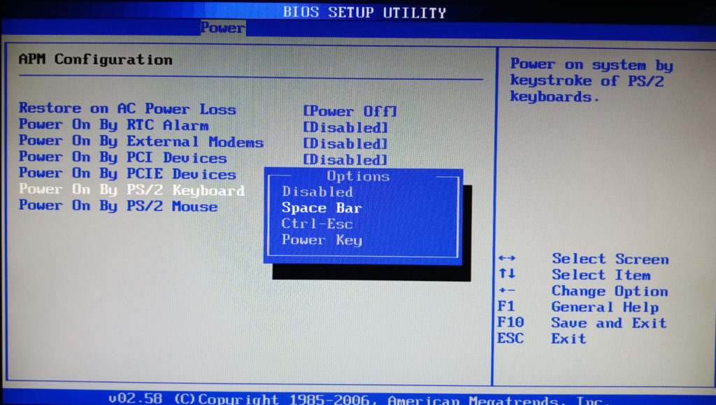 Power On By PS/2 Keyboard в разделе APM Configuration в BIOS материнской платы ASUS P5B-VM
